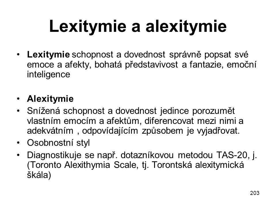 Lexitymie a alexitymie