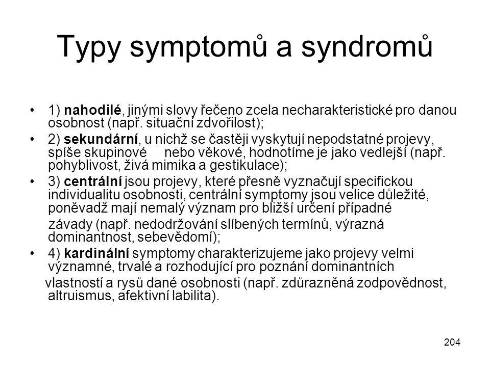 Typy symptomů a syndromů