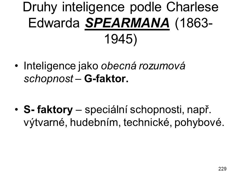 Druhy inteligence podle Charlese Edwarda SPEARMANA (1863-1945)