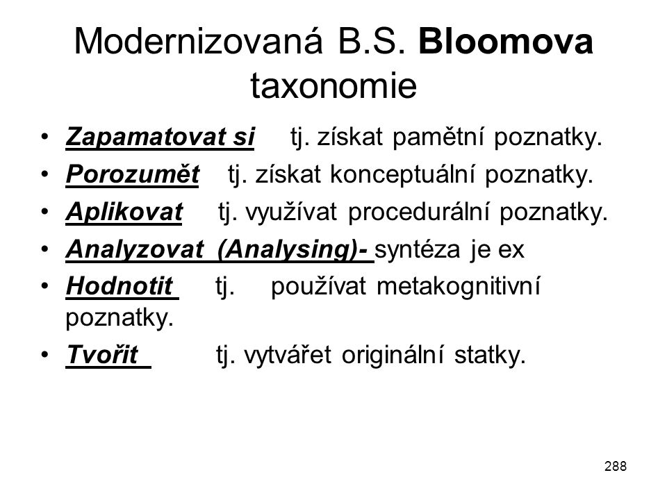 Modernizovaná B.S. Bloomova taxonomie