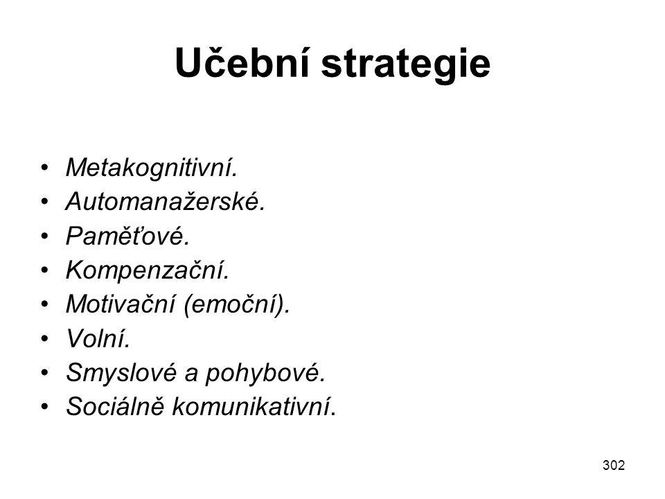 Učební strategie Metakognitivní. Automanažerské. Paměťové.