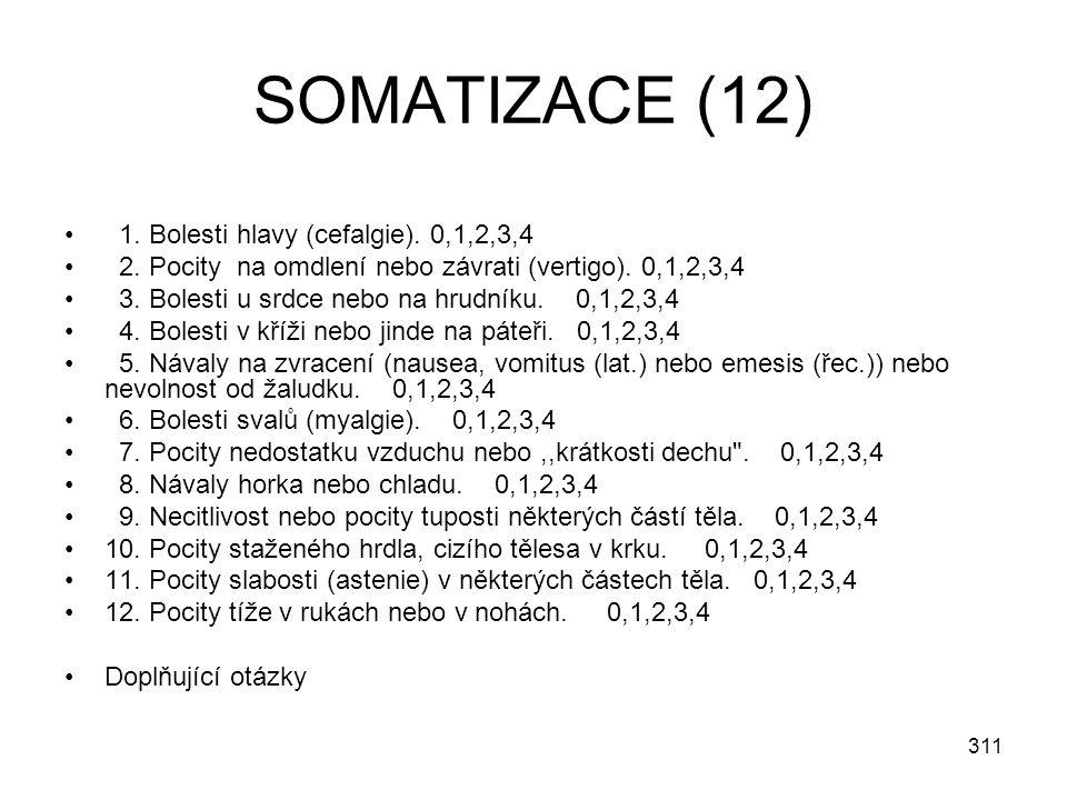 SOMATIZACE (12) 1. Bolesti hlavy (cefalgie). 0,1,2,3,4