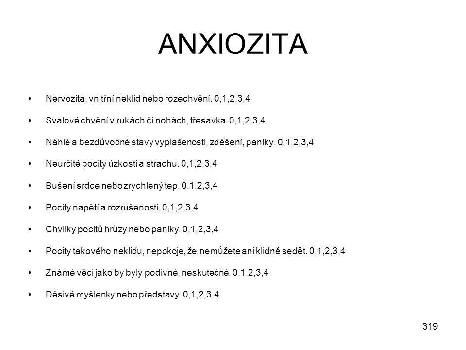 ANXIOZITA Nervozita, vnitřní neklid nebo rozechvění. 0,1,2,3,4