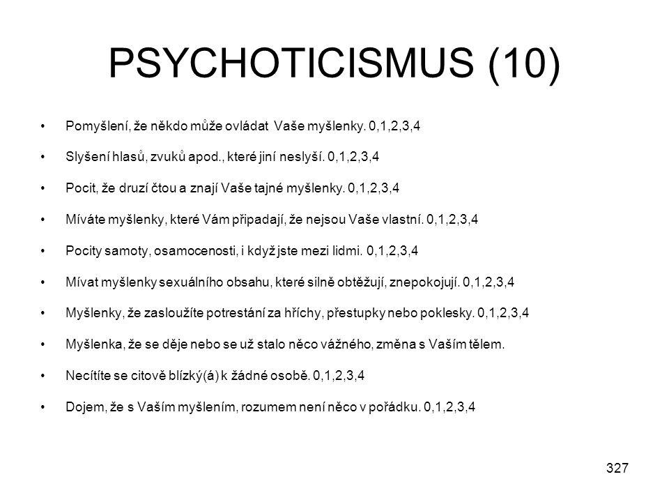 PSYCHOTICISMUS (10) Pomyšlení, že někdo může ovládat Vaše myšlenky. 0,1,2,3,4. Slyšení hlasů, zvuků apod., které jiní neslyší. 0,1,2,3,4.