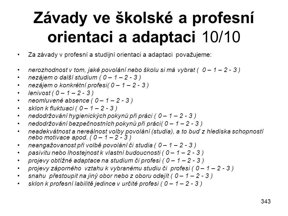 Závady ve školské a profesní orientaci a adaptaci 10/10