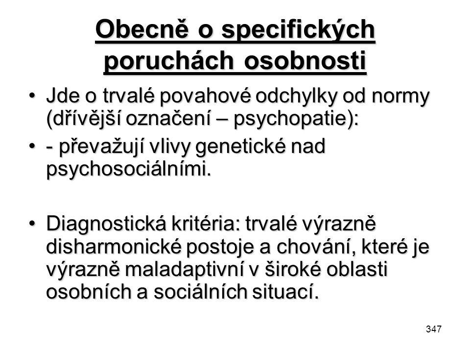 Obecně o specifických poruchách osobnosti