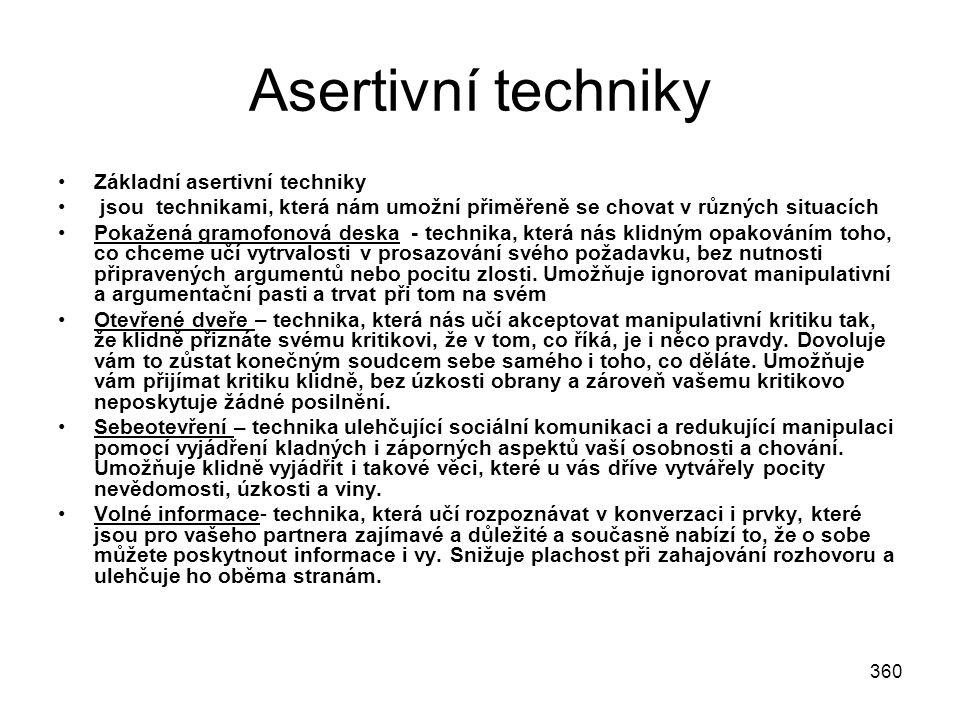 Asertivní techniky Základní asertivní techniky