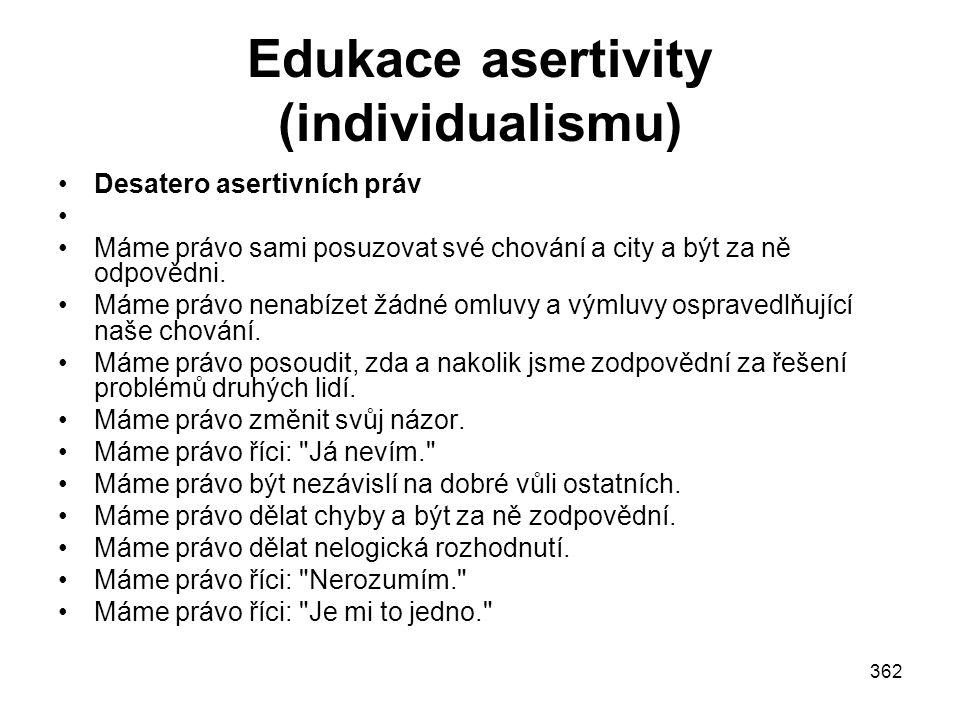 Edukace asertivity (individualismu)