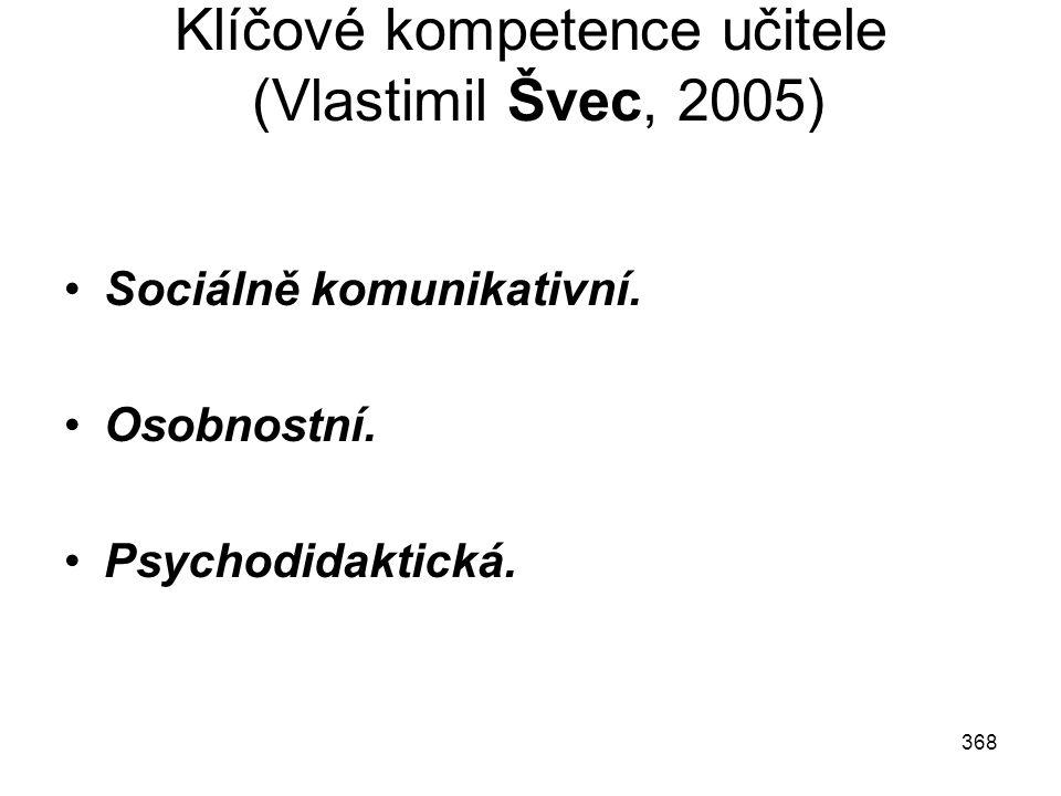 Klíčové kompetence učitele (Vlastimil Švec, 2005)