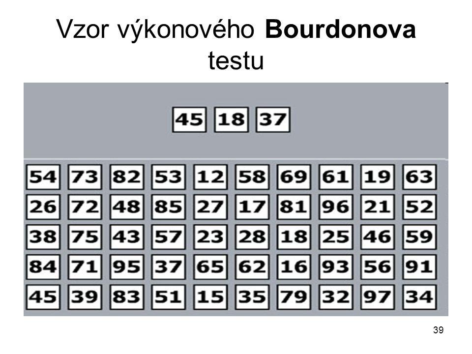 Vzor výkonového Bourdonova testu