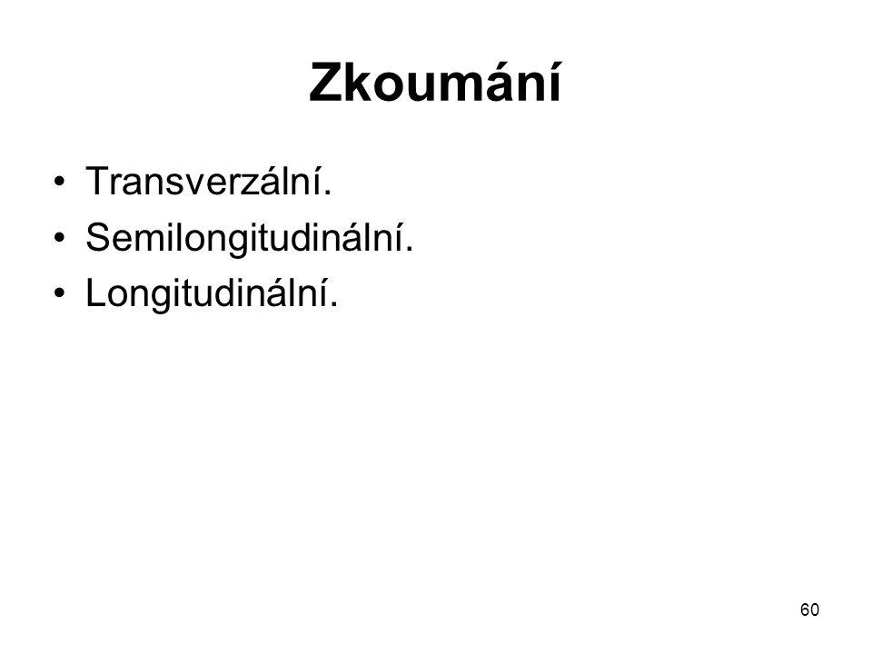 Zkoumání Transverzální. Semilongitudinální. Longitudinální.