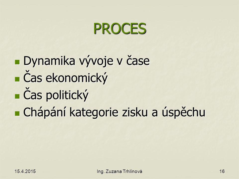 PROCES Dynamika vývoje v čase Čas ekonomický Čas politický