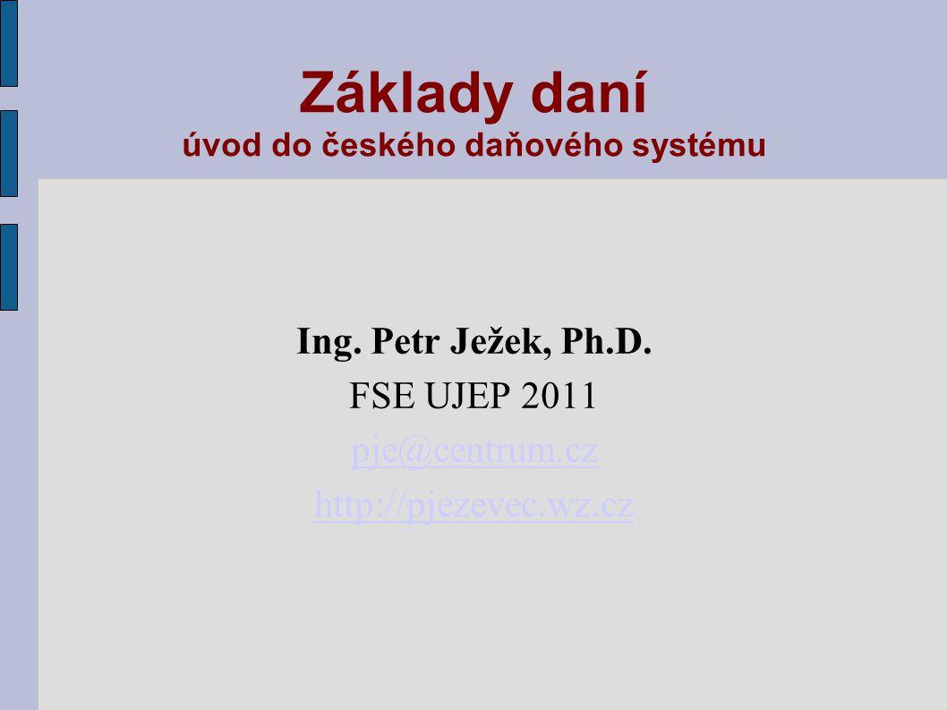 Základy daní úvod do českého daňového systému