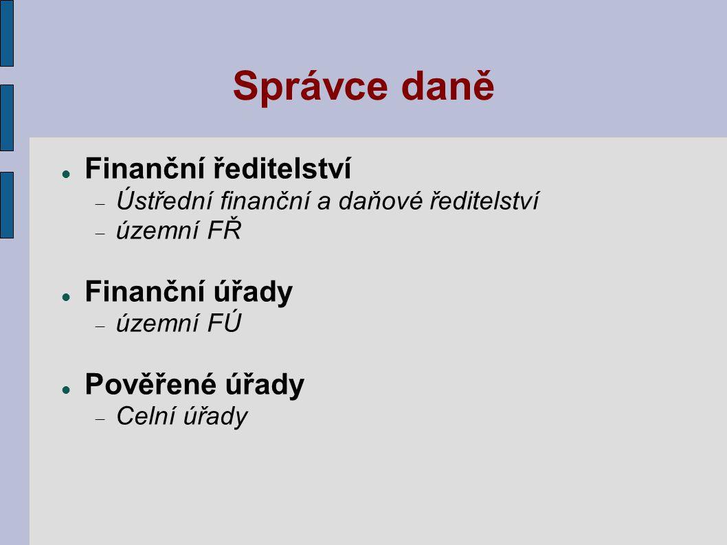 Správce daně Finanční ředitelství Finanční úřady Pověřené úřady