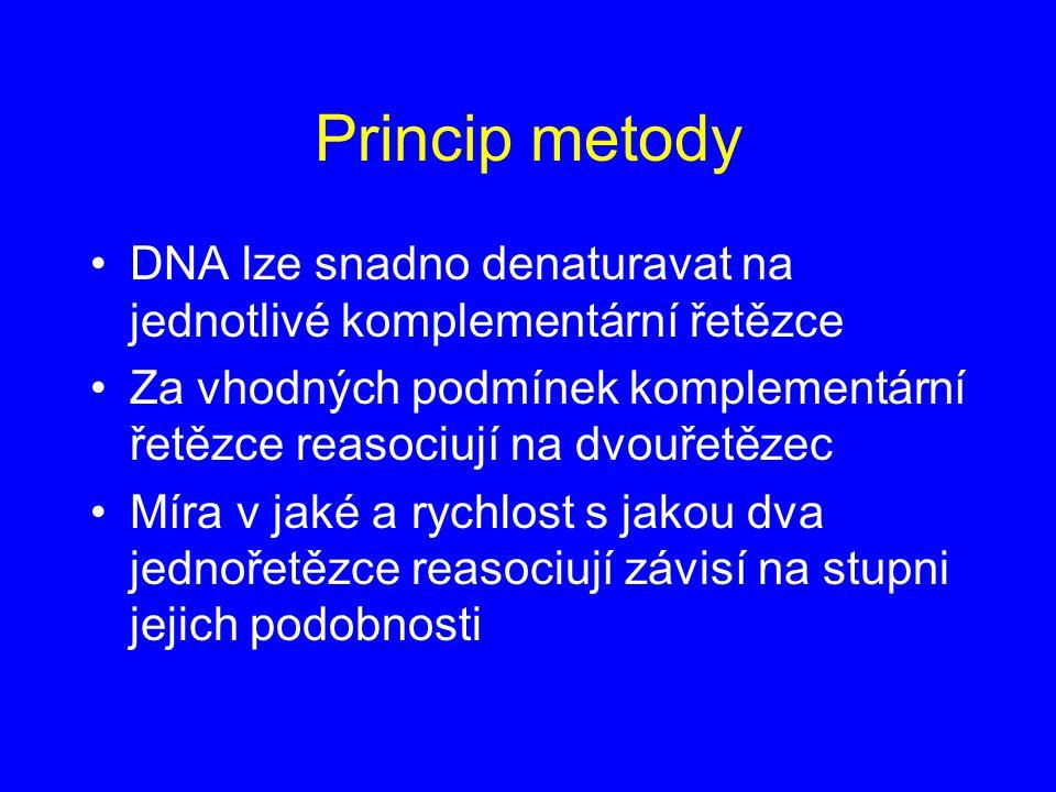 Princip metody DNA lze snadno denaturavat na jednotlivé komplementární řetězce.