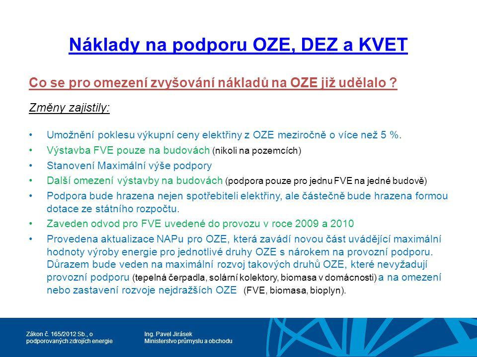 Náklady na podporu OZE, DEZ a KVET
