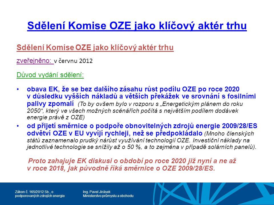 Sdělení Komise OZE jako klíčový aktér trhu