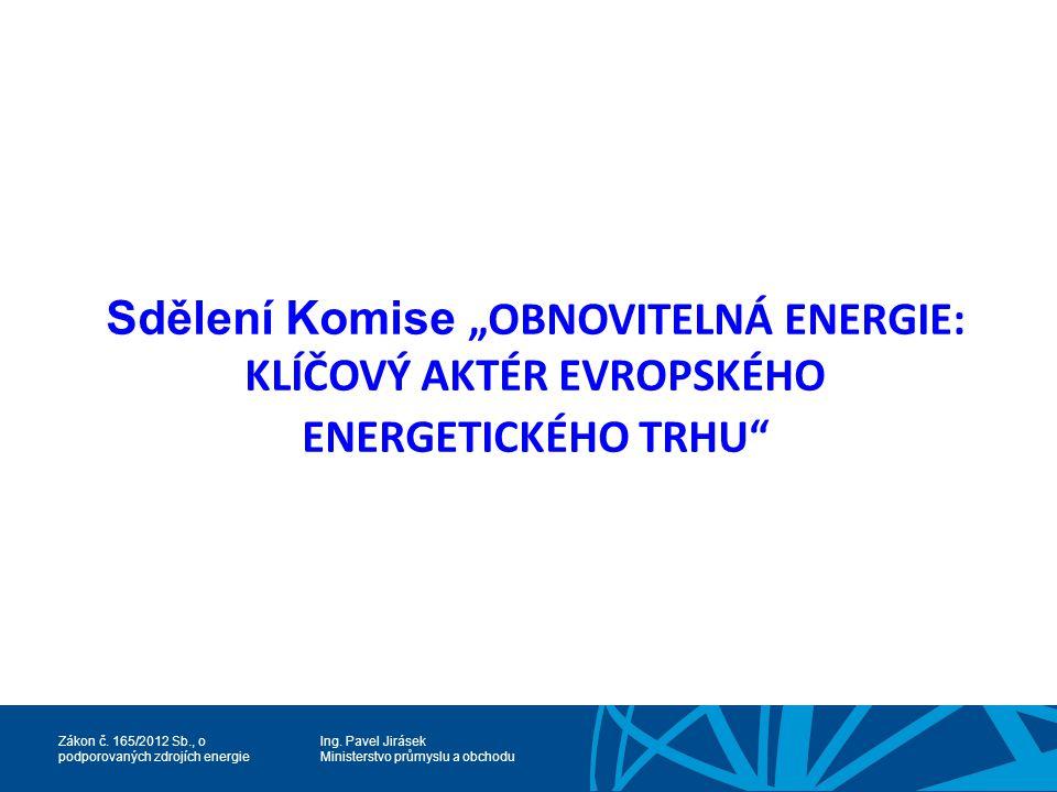 """Sdělení Komise """"OBNOVITELNÁ ENERGIE: KLÍČOVÝ AKTÉR EVROPSKÉHO ENERGETICKÉHO TRHU"""