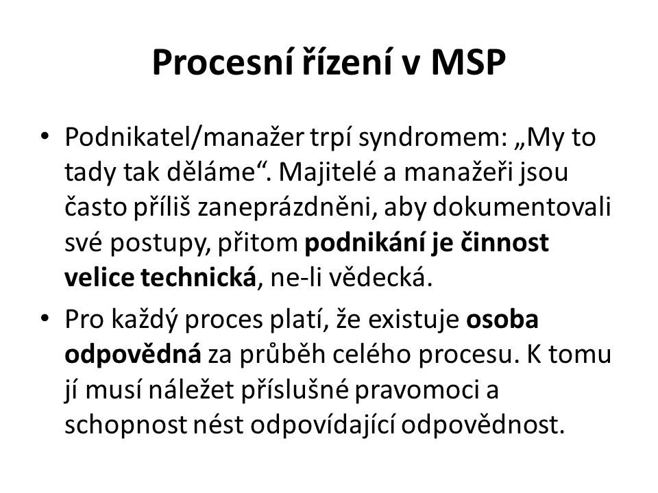 Procesní řízení v MSP