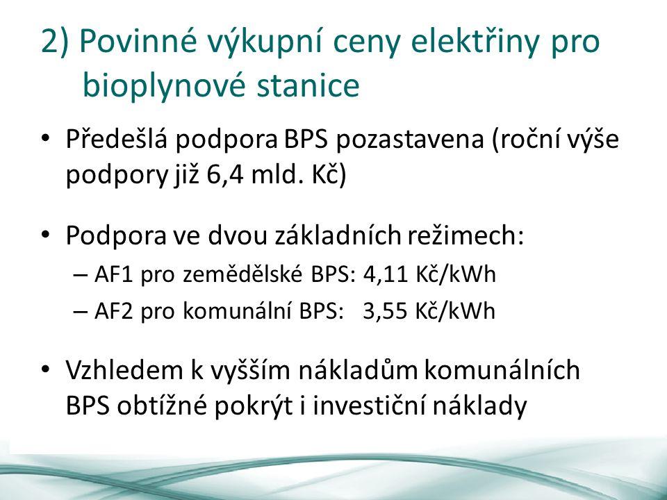 2) Povinné výkupní ceny elektřiny pro bioplynové stanice