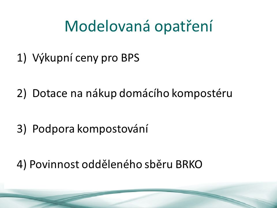 Modelovaná opatření Výkupní ceny pro BPS