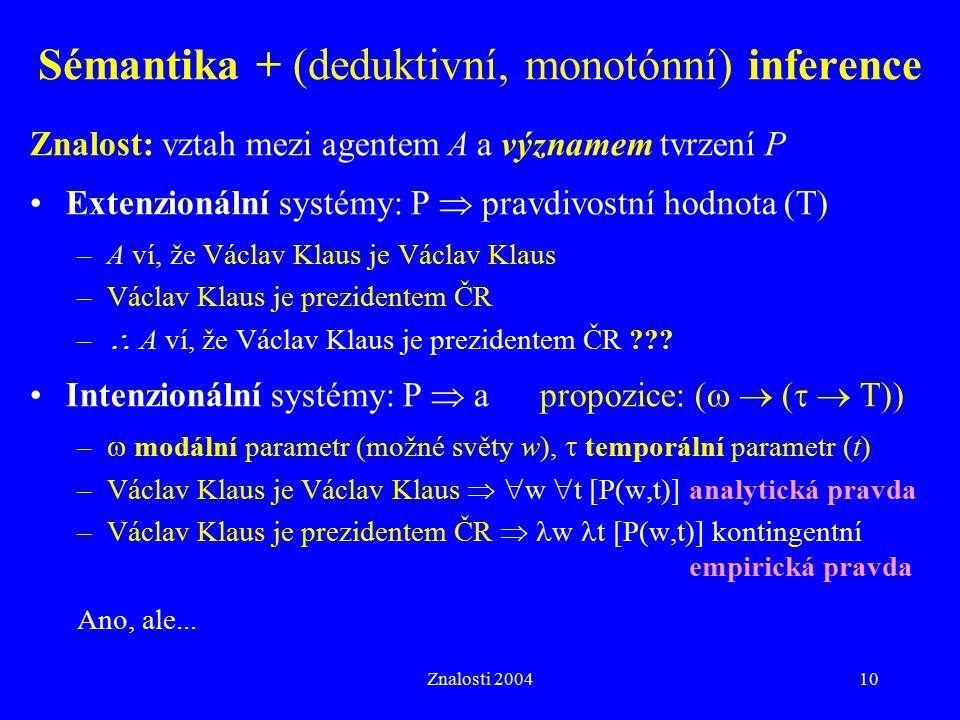 Sémantika + (deduktivní, monotónní) inference