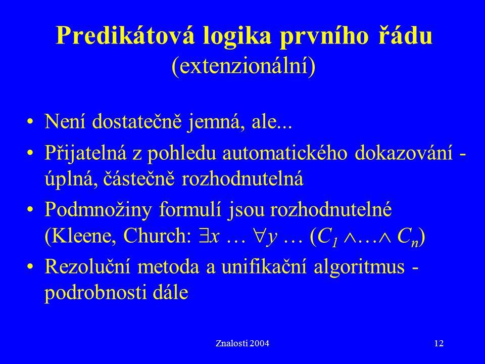 Predikátová logika prvního řádu (extenzionální)
