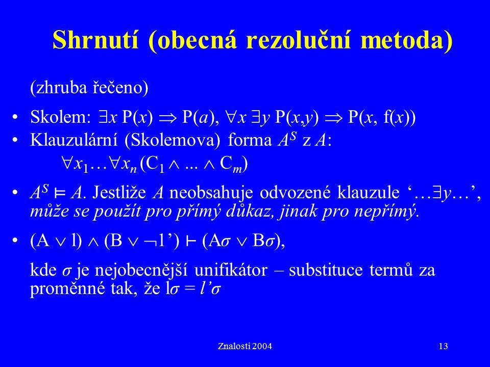 Shrnutí (obecná rezoluční metoda)