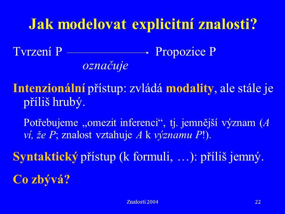 Jak modelovat explicitní znalosti