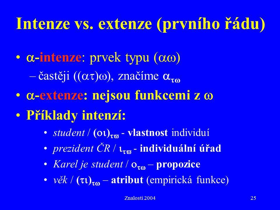 Intenze vs. extenze (prvního řádu)