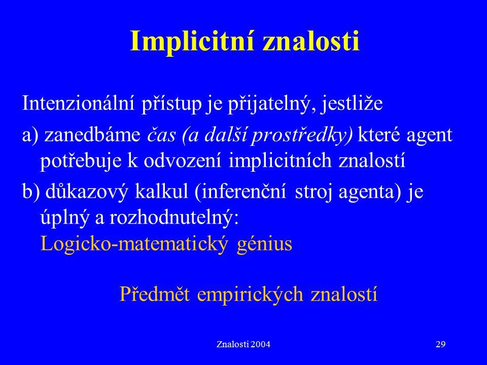 Implicitní znalosti Intenzionální přístup je přijatelný, jestliže