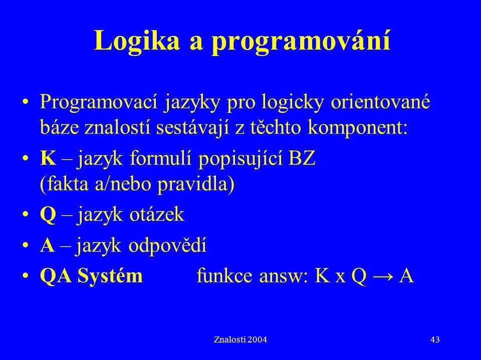 Logika a programování Programovací jazyky pro logicky orientované báze znalostí sestávají z těchto komponent: