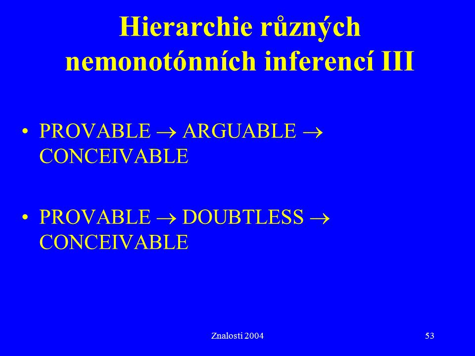 Hierarchie různých nemonotónních inferencí III