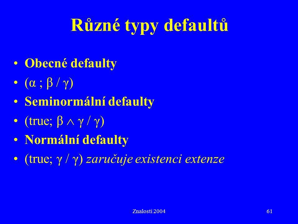 Různé typy defaultů Obecné defaulty (α ; β / γ) Seminormální defaulty