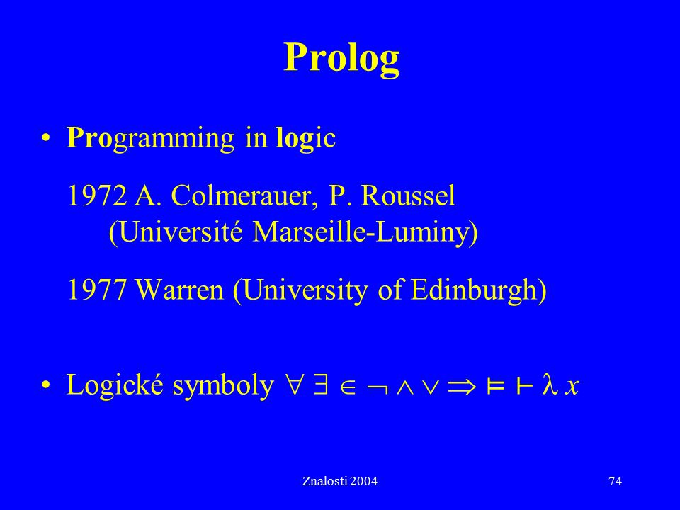 Prolog Programming in logic