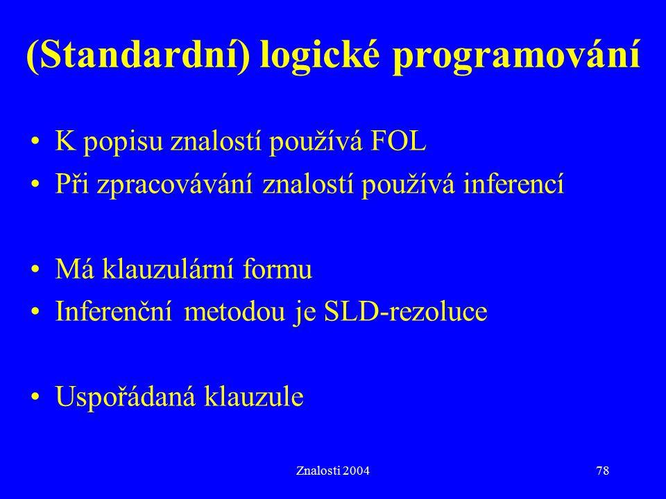 (Standardní) logické programování