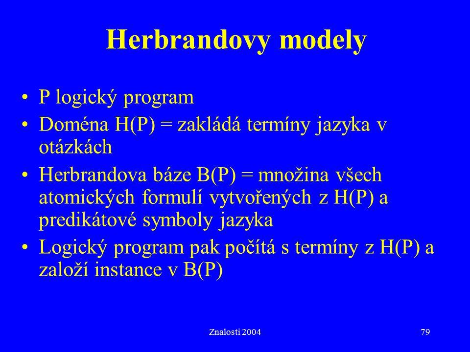 Herbrandovy modely P logický program
