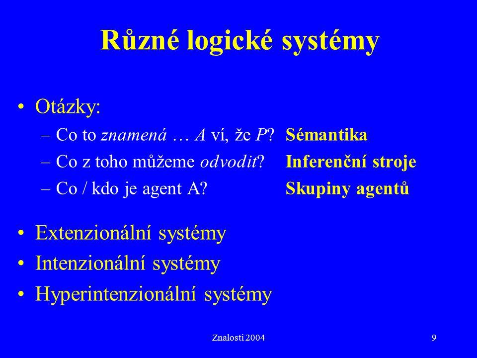Různé logické systémy Otázky: Extenzionální systémy