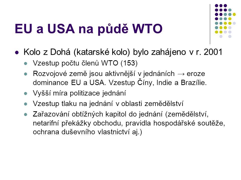 EU a USA na půdě WTO Kolo z Dohá (katarské kolo) bylo zahájeno v r. 2001. Vzestup počtu členů WTO (153)