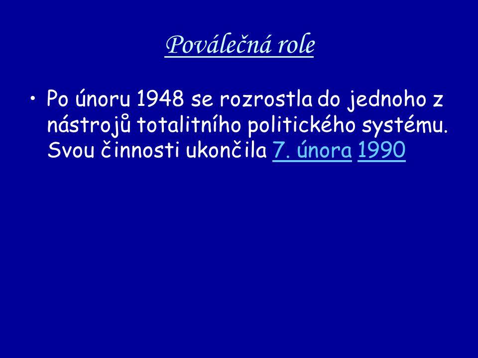 Poválečná role Po únoru 1948 se rozrostla do jednoho z nástrojů totalitního politického systému.