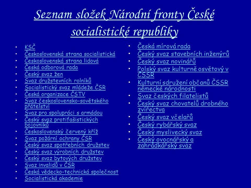 Seznam složek Národní fronty České socialistické republiky