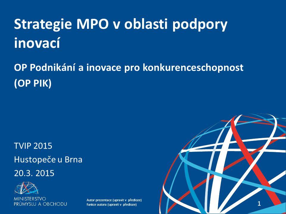 Strategie MPO v oblasti podpory inovací