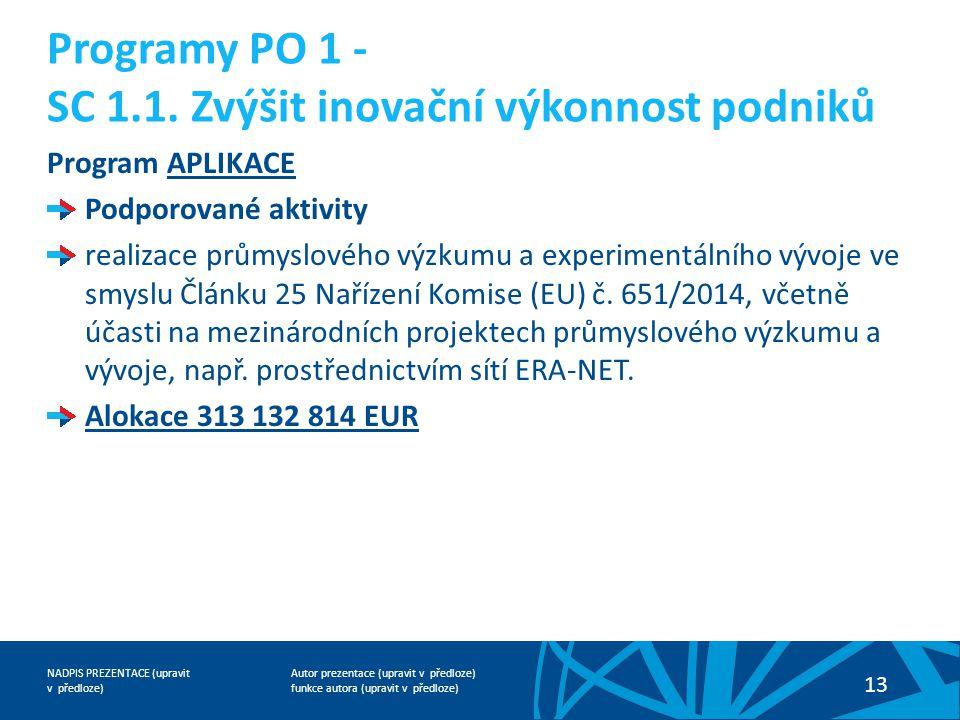 Programy PO 1 - SC 1.1. Zvýšit inovační výkonnost podniků