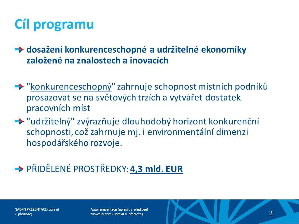 Cíl programu dosažení konkurenceschopné a udržitelné ekonomiky založené na znalostech a inovacích.