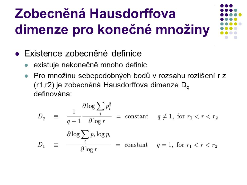 Zobecněná Hausdorffova dimenze pro konečné množiny
