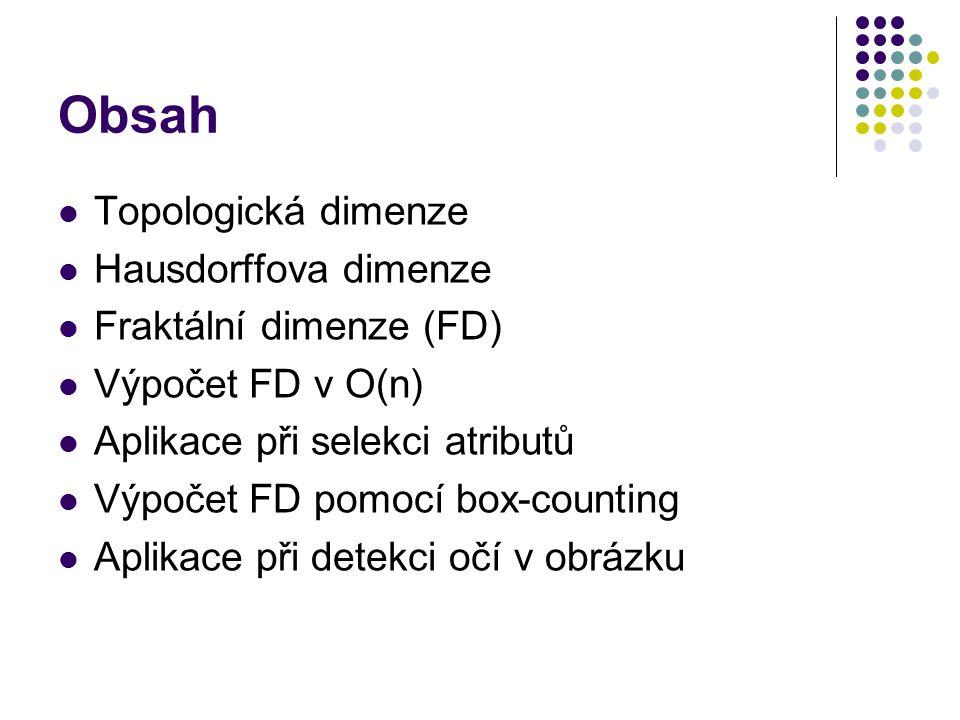 Obsah Topologická dimenze Hausdorffova dimenze Fraktální dimenze (FD)
