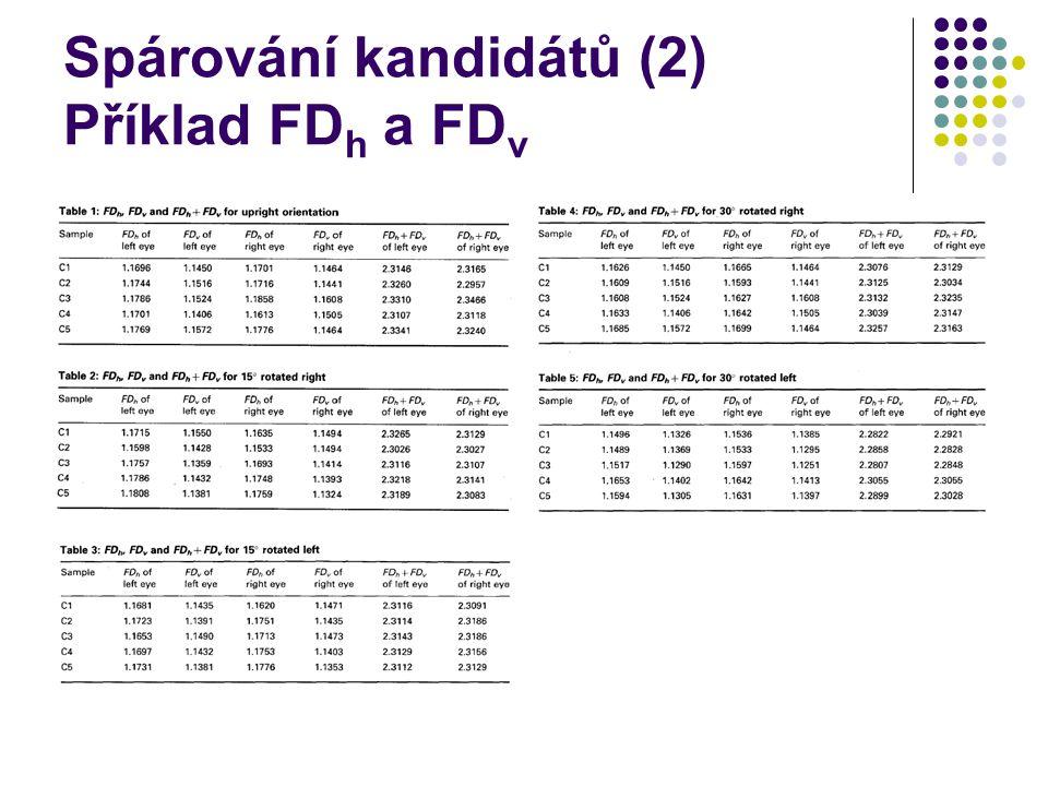Spárování kandidátů (2) Příklad FDh a FDv
