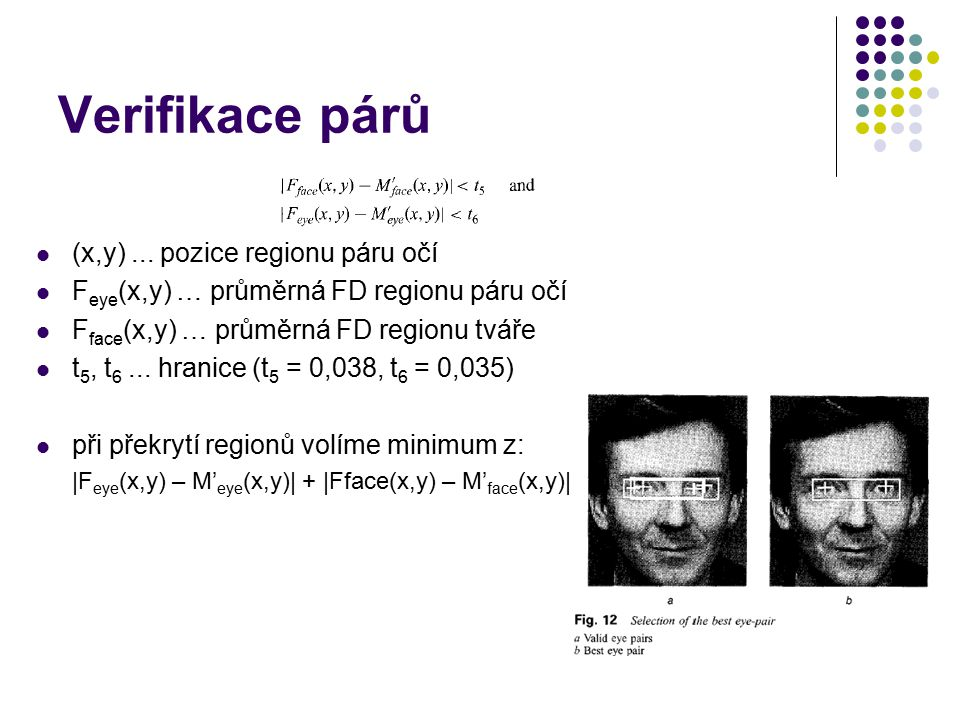 Verifikace párů (x,y) ... pozice regionu páru očí