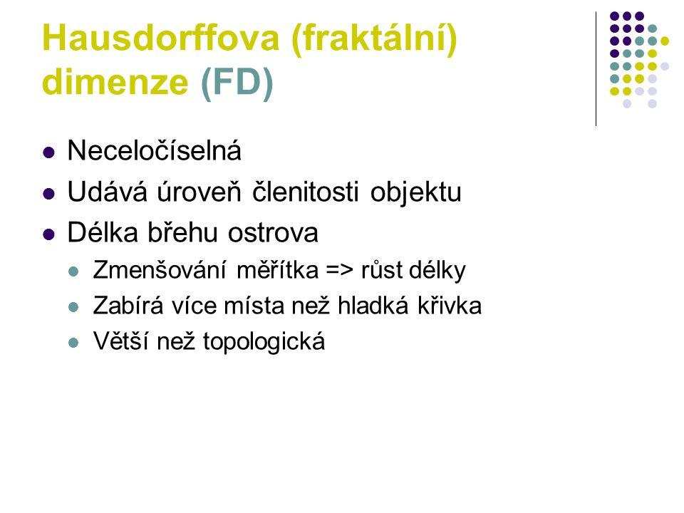 Hausdorffova (fraktální) dimenze (FD)