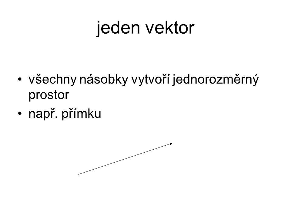 jeden vektor všechny násobky vytvoří jednorozměrný prostor